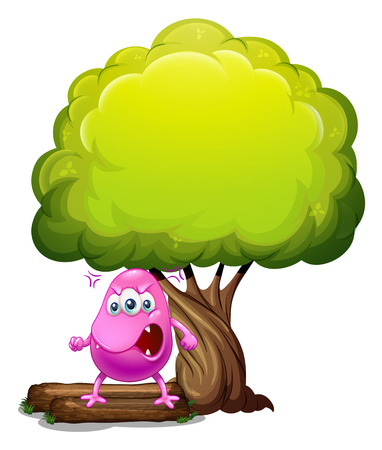beanie: Illustration of an angry beanie monster under the big tree on a white background