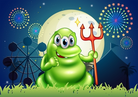 Illustration of a death monster at the carnival with a firework display Vector