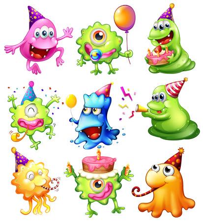 Illustratie van een gelukkige monsters vieren een verjaardag op een witte achtergrond