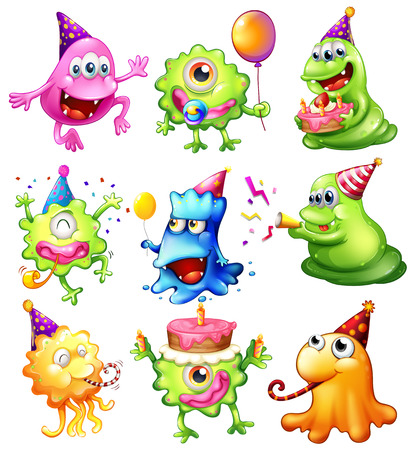cartoons: Illustration of a happy monsters celebrating a birthday on a white background