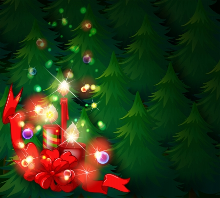 lighted: Illustration of a christmas design with lighted candles on a white background Illustration