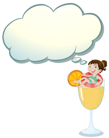Illustration of a big glass of orange juice with a smiling girl on a white background Vector