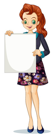 Illustration of a smiling businesswoman holding an empty board on a white background Vector