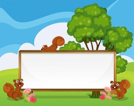 hilltop: Illustration of a wide empty frame at the hilltop