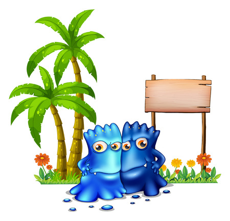 Illustration of the two blue monsters standing in front of the empty board on a white background Vector