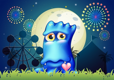 Illustration of a blue monster near the grass at the carnival Vector