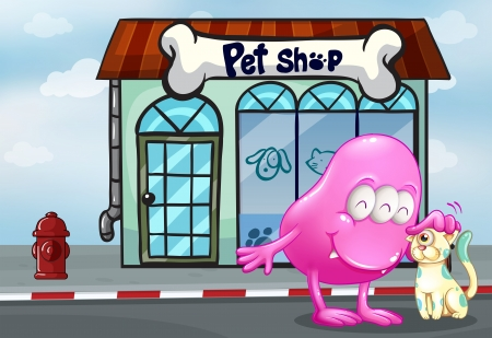 beanie: Illustration of a pink beanie monster and a pet in front of the pet shop Illustration