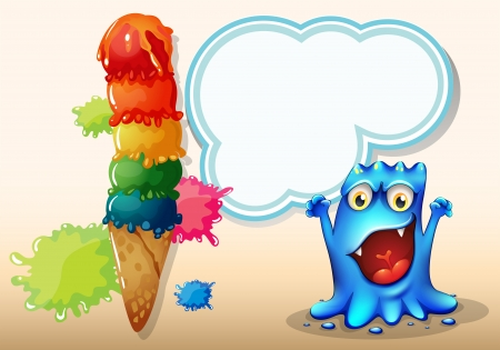 Illustration of a cheerful blue monster near the colorful giant icecream Vector