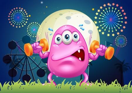 Ilustraci�n de un monstruo rosado sudoroso ejercicio