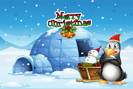 Illustration of a snowman and a penguin in front of the igloo Vector