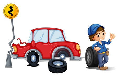 Illustration of a mechanic near the car accident area on a white background