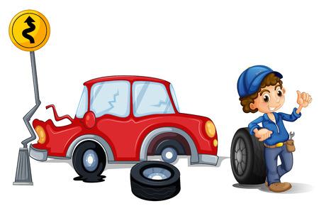 poškozené: Ilustrace mechanik blízkém okolí autonehodě na bílém pozadí