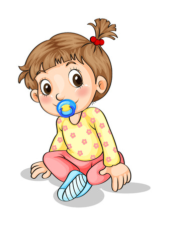Illustration of a toddler with a pacifier on a white background Illustration