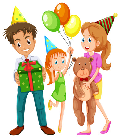 Illustration of a happy family celebrating a birthday on a white background Vector