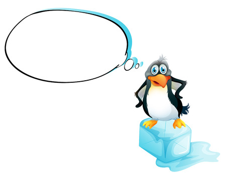 Illustration of a penguin standing above an icecube on a white background Vector