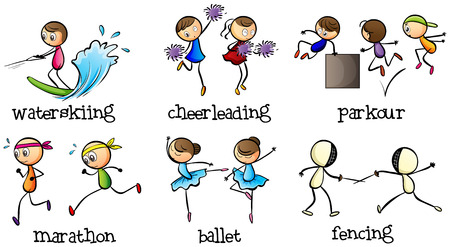 Illustration of the six different activities on a white background Vector