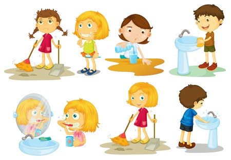 engaging: Illustration of the kids engaging in different activities on a white background