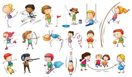 kind spielen: Illustration der Kinder Eingriff in verschiedene Sportarten auf wei�em Hintergrund