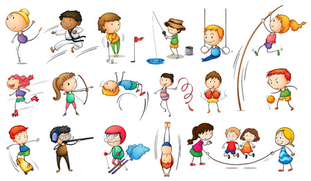 baloncesto chica: Ilustraci�n de los ni�os que participan en diferentes deportes sobre un fondo blanco