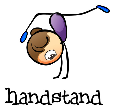 teammates: Illustration of a woman doing a handstand on a white background