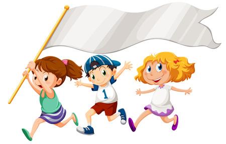 Ilustración de los tres niños corriendo con una bandera vacía sobre un fondo blanco