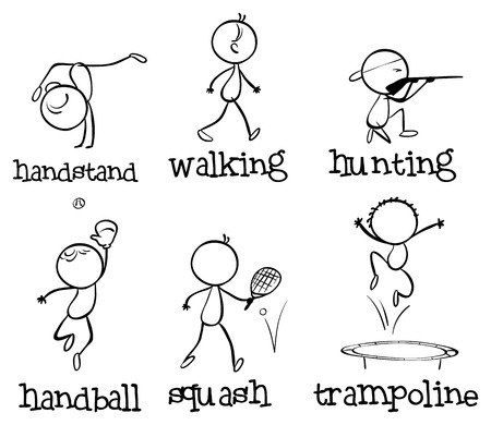bounces: Illustration of the different sports on a white background