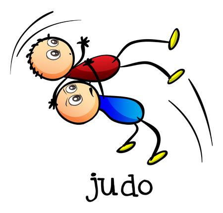 judo: Ilustración de los stickmen haciendo judo sobre un fondo blanco