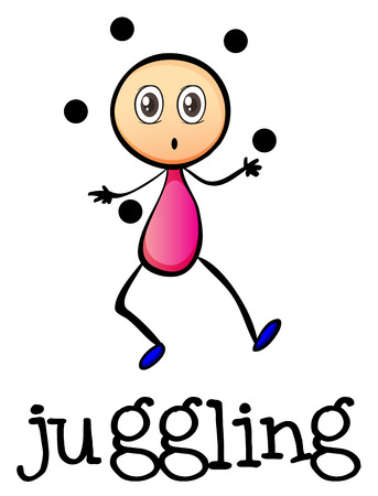 concentrating: Illustration of a stickman juggling on a white background Illustration