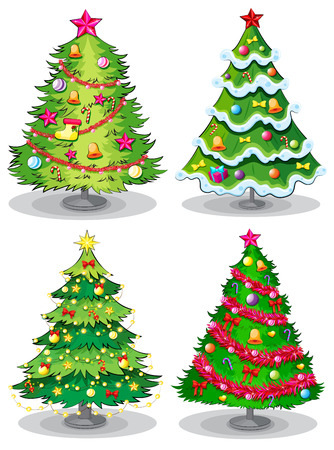 pine tree isolated: Illustration of the four decorated christmas trees on a white background
