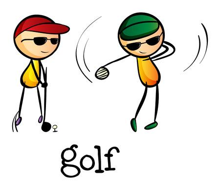 stickmen: Illustration of the stickmen playing golf on a white background
