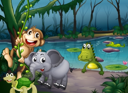 natural resources: Illustration of the animals playing at the forest near the pond with crocodiles
