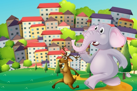Illustration of a deer and an elephant running at the hilltop across the tall buildings Vector