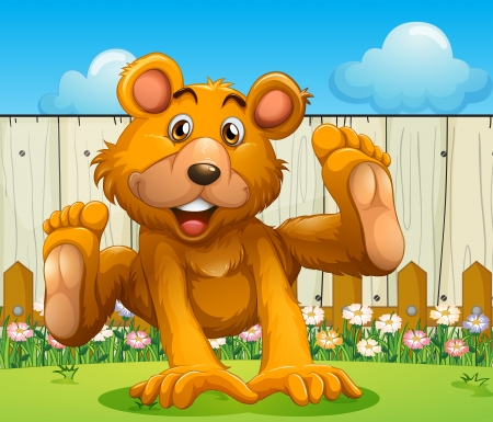 Illustration of a bear playing near the wooden fence Illustration