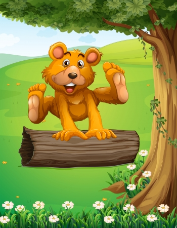Illustration of a bear playing with the trunk under the tree Vector