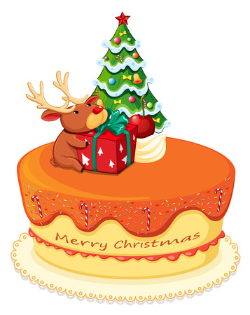 Illustration of a cake with a reindeer and a christmas tree on a white background Vector