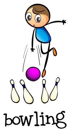 rehearsal: Illustration of a stickman bowling on a white background