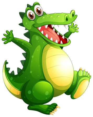 Illustration of a playful green crocodile on a white background Vector