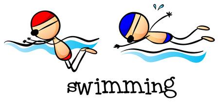 흰색 배경에 수영이 소년의 그림 일러스트