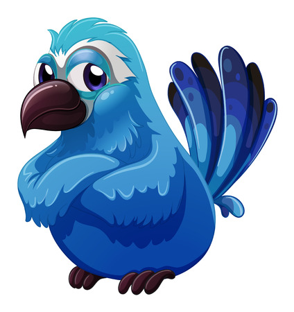 Illustration of a big blue bird on a white background Vector