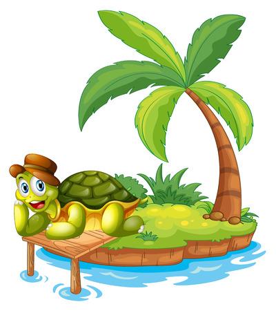 Illustratie van een schildpad gestrand op een eiland op een witte achtergrond