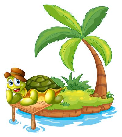 stranded: Illustration of a turtle stranded in an island on a white background Illustration