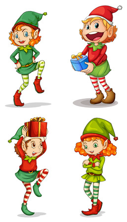 Illustration of the four smiling elves on a white background