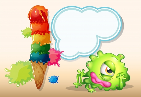 Illustration of a tired green one-eyed monster near the giant icecream Vector