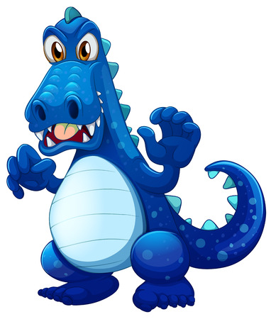 Illustration of a scary blue crocodile on a white background Vector