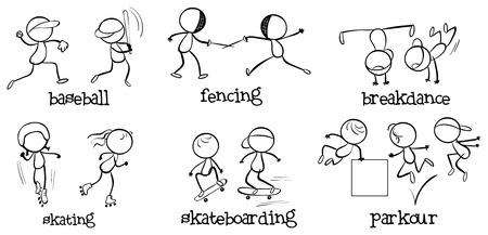 attivit?: Illustrazione delle varie attivit� indoor e outdoor su uno sfondo bianco