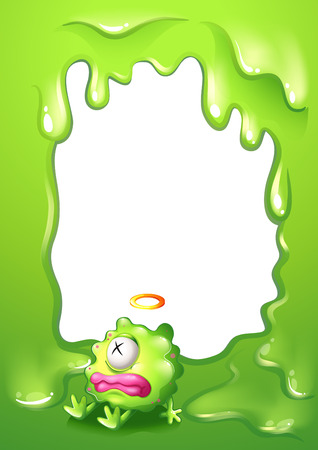 poisoned: Illustration of a border with a poisoned green monster Illustration
