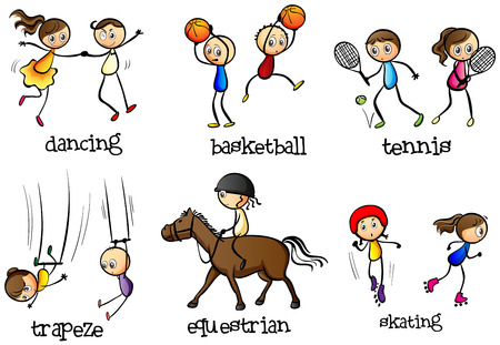 Illustration of the indoor and outdoor activities of on a white background Vector