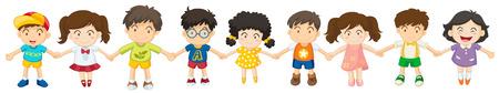 enfant qui sourit: Illustration des enfants dans une rang�e sur un fond blanc