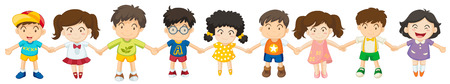 male child: Illustration of the children in a row on a white background Illustration