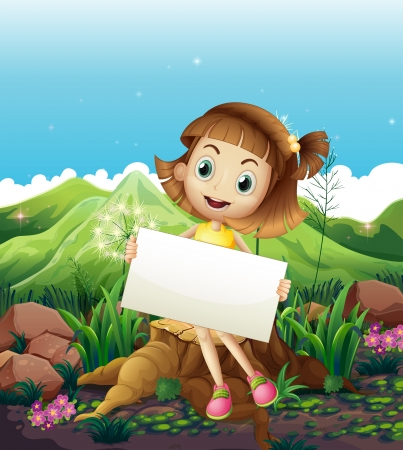 little girl sitting: Illustration of a happy girl sitting above the stump while holding an empty signage